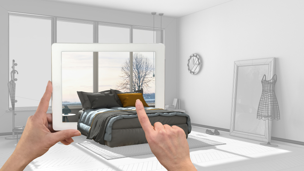An image depicting a bed coming out of an ipad to illustrate the concept of augmented reality for furniture retail