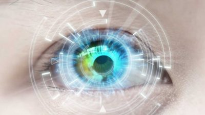 Digital information projected on top of a human eye