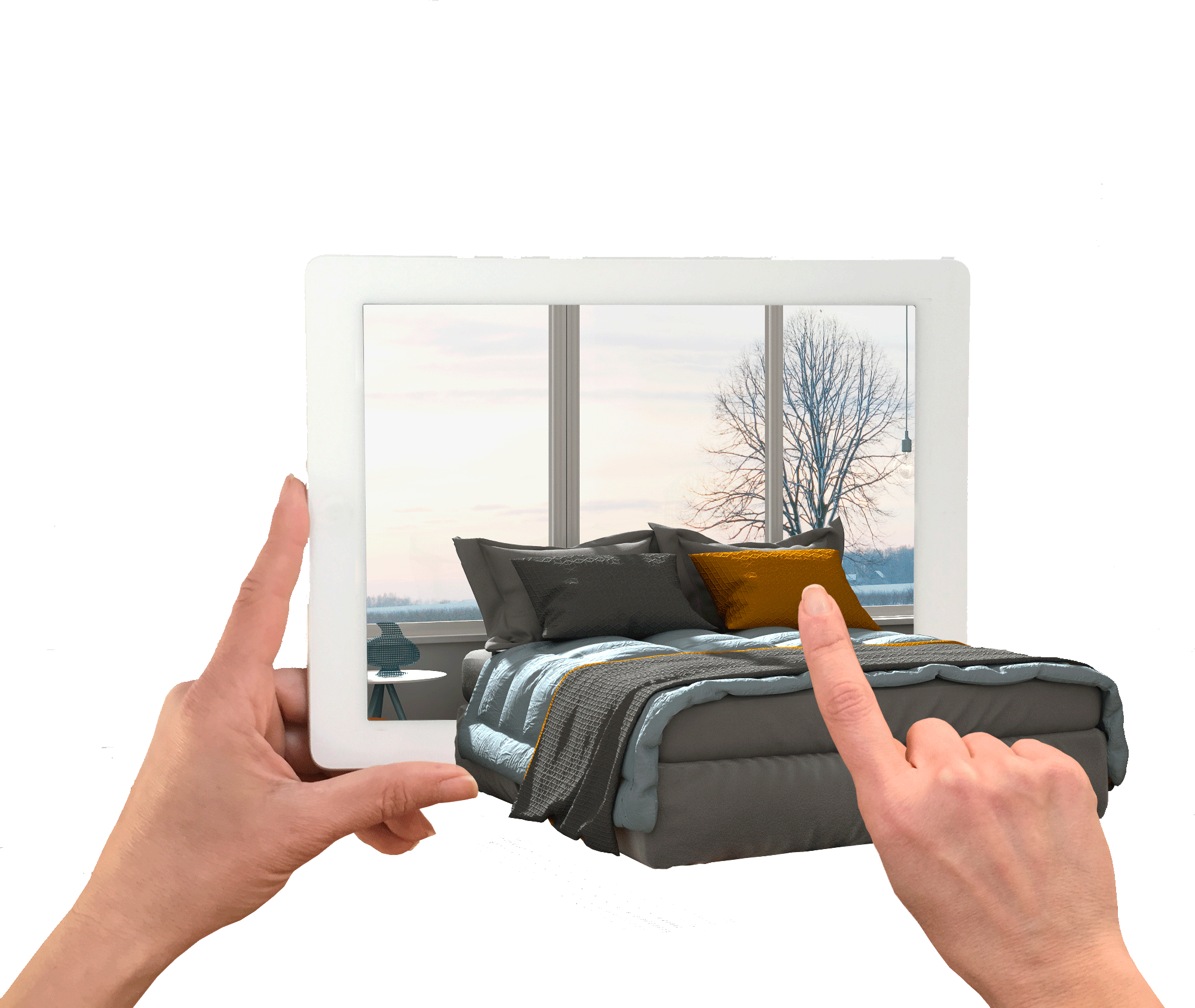 A person holding a tablet with a bed being projected out of it, representing augmented reality