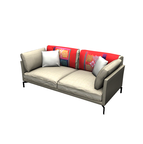 a 3d model of fabric sofa, the sofa is beige with a red blanket on the back