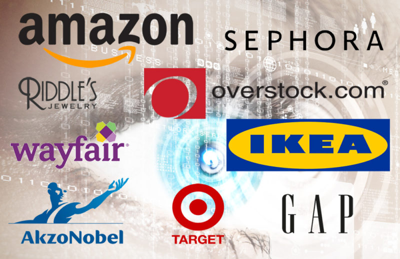 A number of retail logos are projected in fron of a human eye, the logos include companies that offer Augmented Reality to consumers